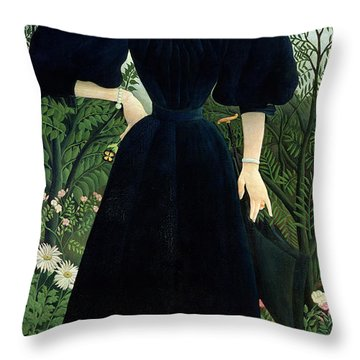 Portrait Of A Woman Throw Pillow by Henri Rousseau