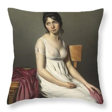Portrait Of A Young Woman In White Throw Pillow