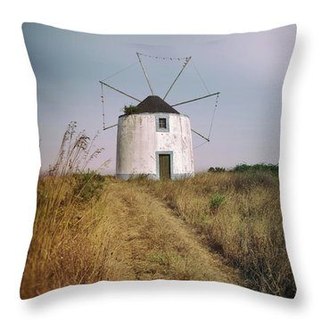 Throw Pillow featuring the photograph Portuguese Windmill by Carlos Caetano