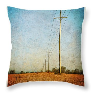 Throw Pillow featuring the photograph Power Lines At Sunrise by Lars Lentz