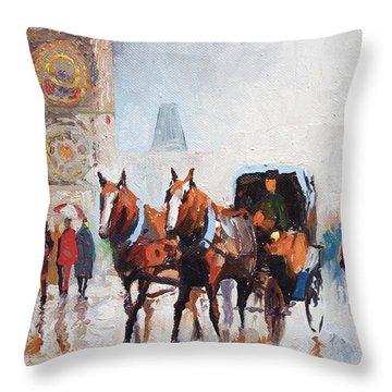 Prague Old Town Square Throw Pillow by Yuriy  Shevchuk