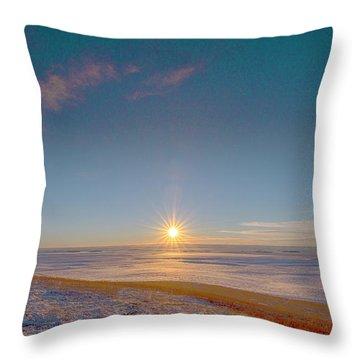 Prairie Winter Sunset Throw Pillow