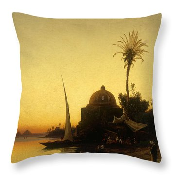 Praying To Mecca Throw Pillow by Herman David Salomon Corrodi