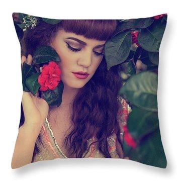 Pre-raphaelite Style Portrait Throw Pillow