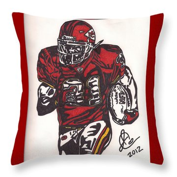 Throw Pillow featuring the drawing Priest Holmes 2 by Jeremiah Colley