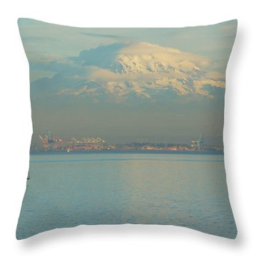 Puget Sound Throw Pillow by Angi Parks