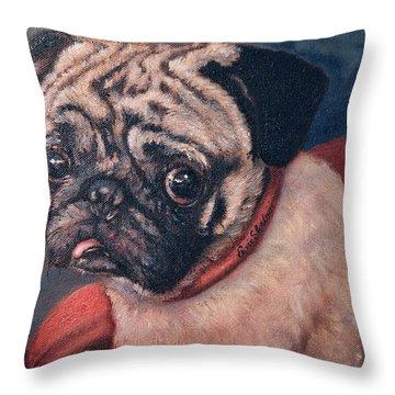 Pugsy Throw Pillow by Enzie Shahmiri
