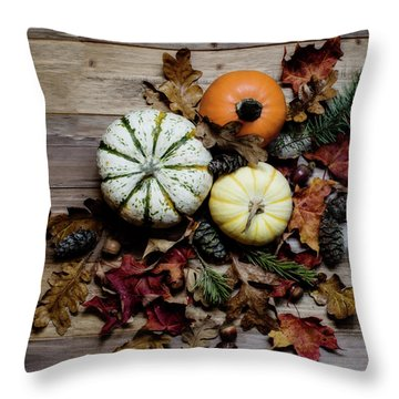 Throw Pillow featuring the photograph Pumpkins by Rebecca Cozart
