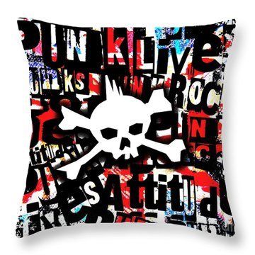 Punk Skull Throw Pillow by Roseanne Jones