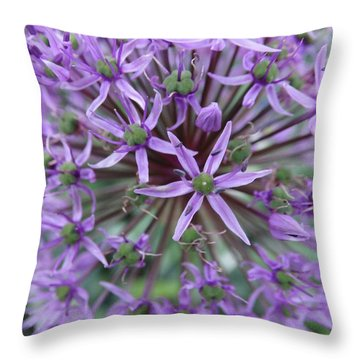 Purple Allium Burst Throw Pillow