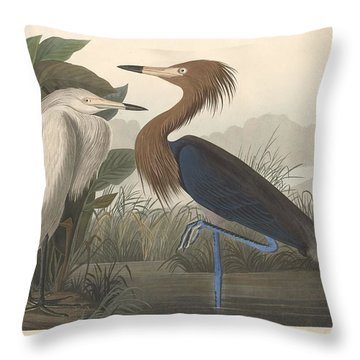 Purple Heron Throw Pillow