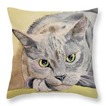 Puss Off Throw Pillow