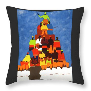 Pyramid Of African Drummers Throw Pillow