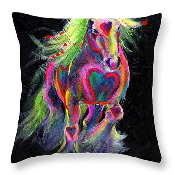Queen Of Hearts Pony  Throw Pillow by Louise Green
