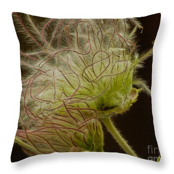 Quirky Red Squiggly Flower 3 Throw Pillow