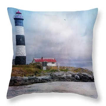 Lighthouse At Race Rocks Throw Pillow