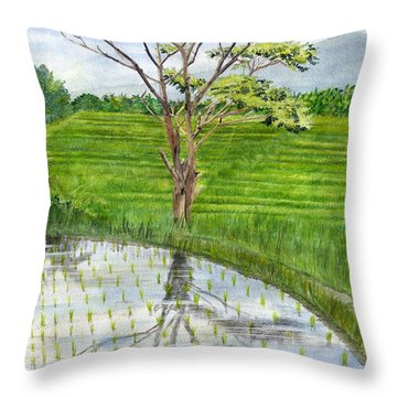 Throw Pillow featuring the painting Rain Tree On The Way To Ubud Bali Indonesia by Melly Terpening