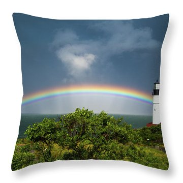 Rainbow At Portland Headlight Throw Pillow