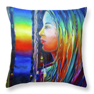 Throw Pillow featuring the painting Rainbow Girl 241008 by Selena Boron