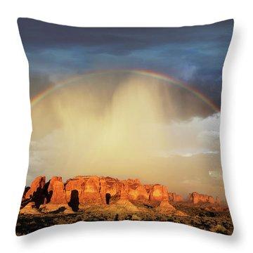 Rainbow Over Garden Of Eden Throw Pillow