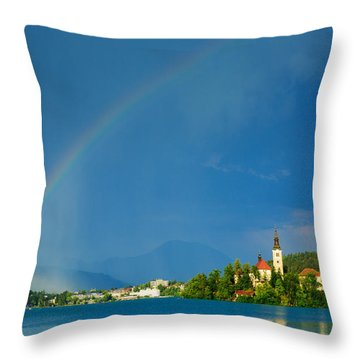 Rainbow Over Lake Bled Throw Pillow