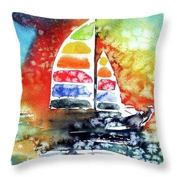 Rainbow Sailboat At Sunset Throw Pillow by Kovacs Anna Brigitta