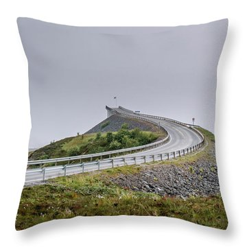 Throw Pillow featuring the photograph Rainy Day On Atlantic Road by Dmytro Korol