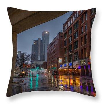 Rainy Night In Detroit  Throw Pillow