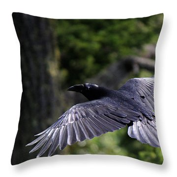 Raven Flight Throw Pillow