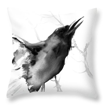 Raven Throw Pillow by Suren Nersisyan