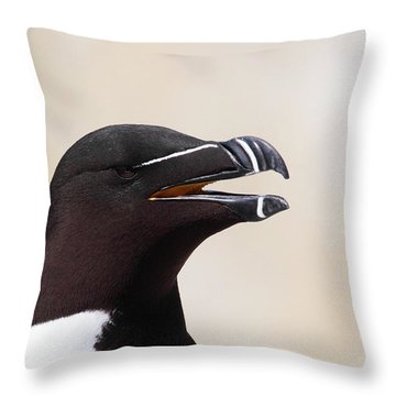 Razorbill Portrait Throw Pillow