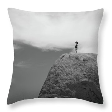 Reaching The Top Of The Rock Throw Pillow