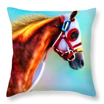 Throw Pillow featuring the digital art Ready To Race by Kari Nanstad