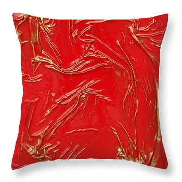 Red And Gold Throw Pillow by Angela Stout