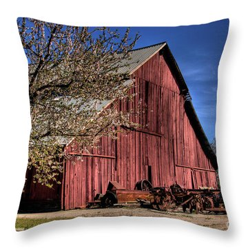 Throw Pillow featuring the photograph Red Barn by Jim and Emily Bush