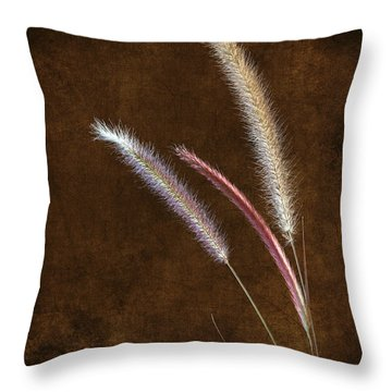 Red Fountain Grass Throw Pillow