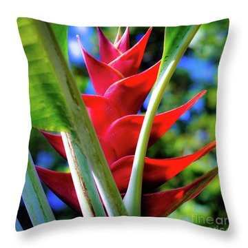 Red Heliconia Hawaii Throw Pillow