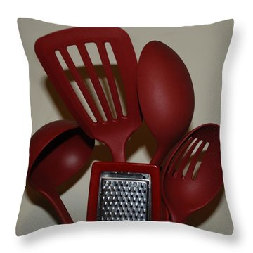 Red Kitchen Utencils Throw Pillow by Rob Hans