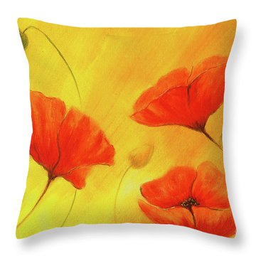 Red Poppy On Orange Background. Red Flower On Abstract Color Background. Red Poppies Throw Pillow
