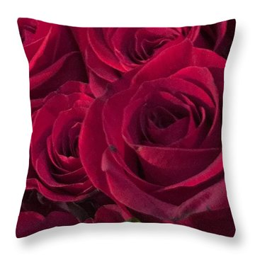 Throw Pillow featuring the photograph Red Red Roses by Kay Gilley