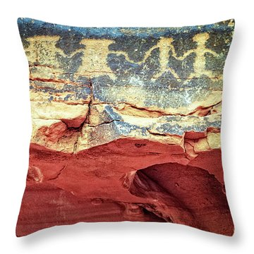 Red Rock Canyon Petroglyphs Throw Pillow by Jim And Emily Bush