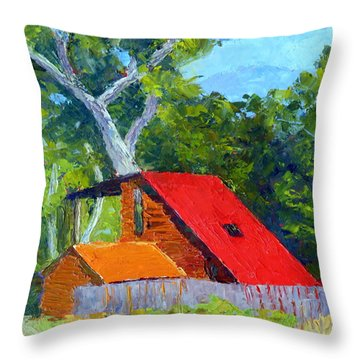 Red Roof Throw Pillow by Susan Woodward