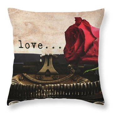 Red Rose On Typewriter Throw Pillow
