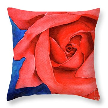 Red Rose Throw Pillow by Rebecca Davis