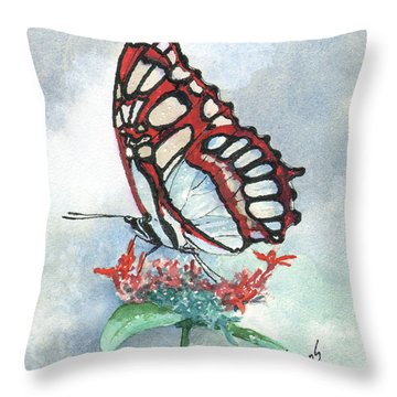Throw Pillow featuring the painting Red by Sam Sidders