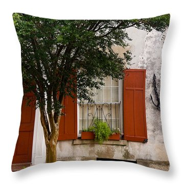 Red Shutters Throw Pillow by Susan Cole Kelly
