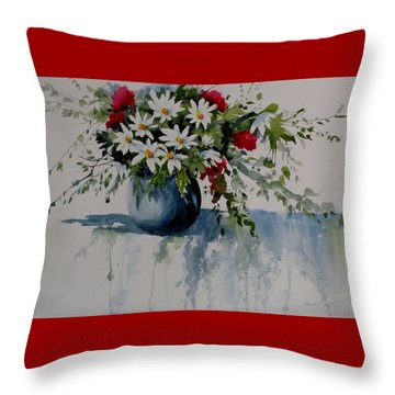 Red White And Blue Bouquet Throw Pillow