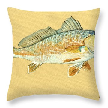 Redfish Painting Throw Pillow by Juan  Bosco