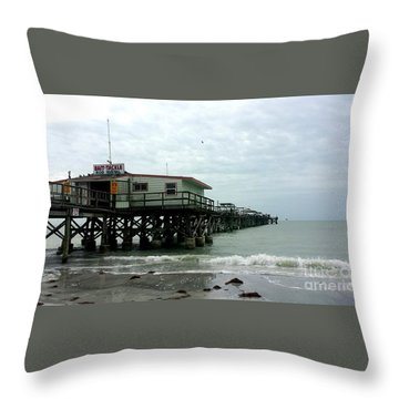 Redington Beach, Florida Fishing Pier Throw Pillow by Scott D Van Osdol
