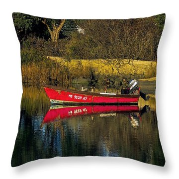 Reflected Skiff Throw Pillow by Constantine Gregory